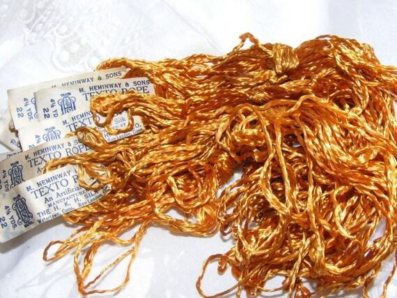 Antique Embroidery Art Silk Floss 1900's Heminway Full Skein Golden Caramel