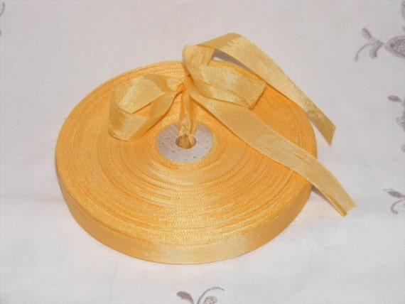 Vintage 1930's-40's French Woven Ribbon -Milliners Stock- 5/8 inch Marigold Yellow