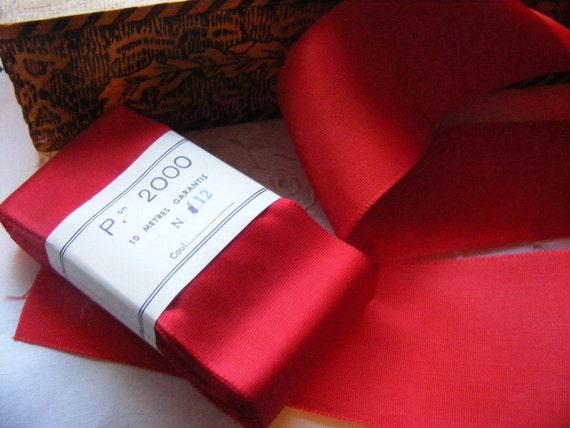 Vintage 1930's French Woven Taffeta Satin Ribbon 2 3/4 Inch Gorgeous Deep Christmas Red