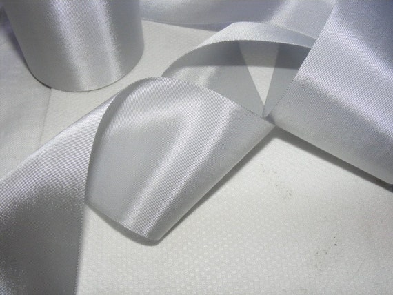 Vintage 1930's-40's French Rayon Satin 2 1/16 Inch Light Gray