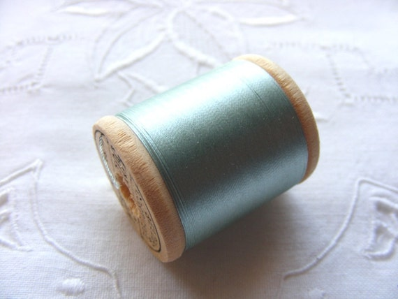 Antique 1920's Corticelli Pure Silk Hand Sewing Embroidery Floss Thread 50 Yd Spool Aqua Blue