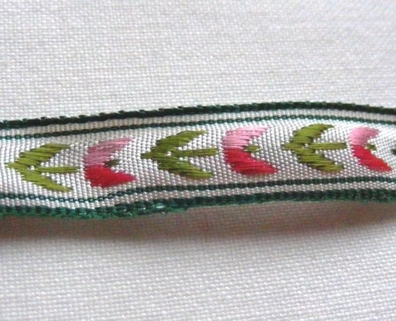Vintage 1940's French Jacquard Silk Rayon Embroidered Ribbon 3/8 Inch Tiny Pink Tulips and Leaves