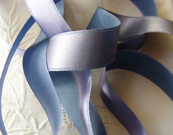 Vintage French Silk Satin Ribbon 1930's -Milliners Stock- 5/8 inch Muted Plum Periwinkle Blue