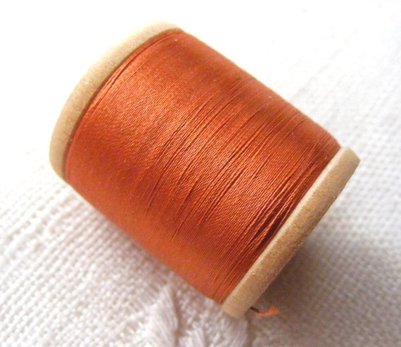 Antique 1940's Corticelli Pure Silk Hand Sewing Embroidery Floss Thread 100 Yd Spool Deep Pumpkin Orange