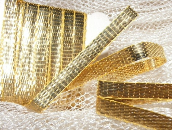 1920's-30's French Gold Lame Ribbon 3/16 inch -Milliners Stock-