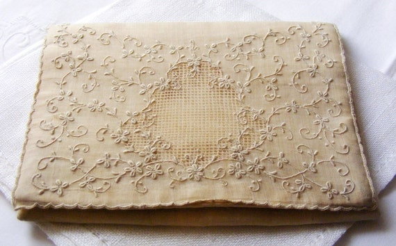 RESERVED EA KEATING Antique Hand Made Victorian 1910 Silk Organdy and Madeira Embroidery Wedding Boudoir Envelope Clutch