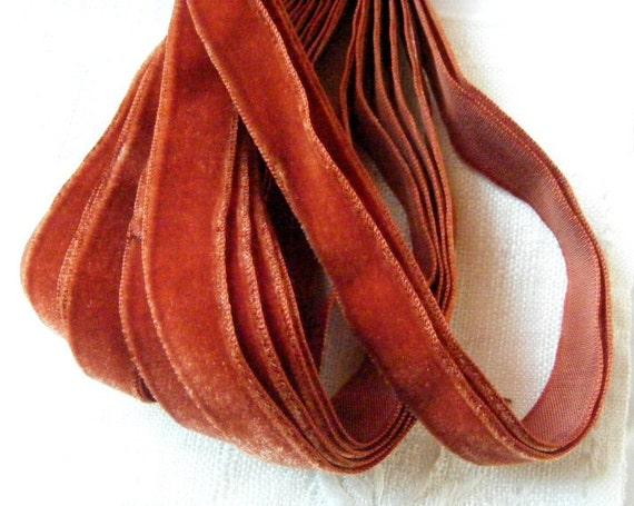 Vintage 1930's-40's French Velvet Ribbon 5/8 inch Antique Fall Rust