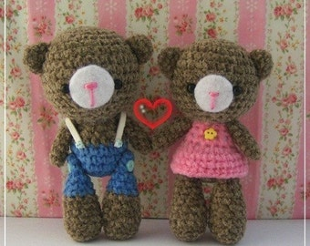 PDF Crochet Pattern - Couple Choco Bears
