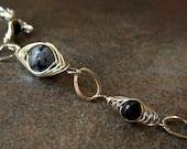 Snowflake Obsidian and Onyx  Herringbone Weave Bracelet
