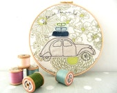 "Off to see the world - Personalised Embroidery Hoop Art - Textile Artwork of a 2CV car in green & blue - 8"" hoop"