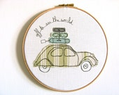 Freehand Embroidery Hoop Art. 'Off to see the world' Textile Artwork by Three Red Apples. French 2CV car in green, blue & white. 8 inches