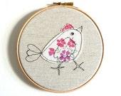 "Embroidery Hoop Art - 'Chirpy chick' in pink & white - 6"" hoop"