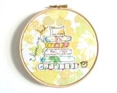 Embroidery Hoop Art - 'I love my bed' Textile Art in yellow - 6 inches hoop