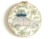"""Embroidery Textile Art in a Hoop - 'Off to see the world' Renault 4 car in green & blue - 8"""" hoop"""