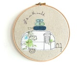 """Embroidered Hoop Art - Airstream Bambi Textile Artwork in blue and green - Medium 8"""" hoop"""