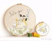 "Let's Go - Personalised Embroidery Hoop Art - yellow & green - large 10"" hoop"