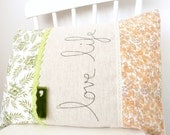 Embroidered Pillow Cover - 'Love life' Granny Chic Cushion in green & peachy orange 16 x 12
