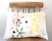 Embroidered Pillow Cover - 'Chicken Run' Granny Chic cushion in sunny yellow 16 x 12
