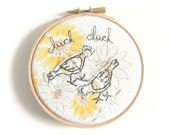 "Clucking chickens - Embroidery Hoop Art - Textile illustration in yellow - 4"" hoop"