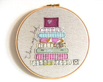 "I love my bed - Personalised Whimsical Embroidery Hoop Art - purple, turquoise & green - 8"" hoop"