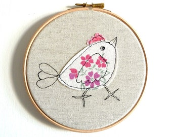 "Chirpy chick - Personalised Embroidery Hoop Art - pink & white - 6"" hoop"