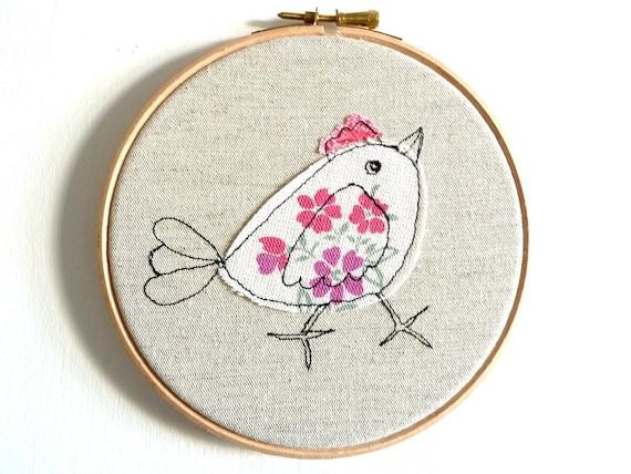 """Chirpy chick - Personalised Embroidery Hoop Art - pink & white - 6"""" hoop"""