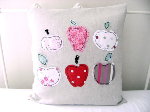 50% OFF SALE - Embroidered Pillow Case - 'Apples' cushion cover in red, pink & linen 16 x16