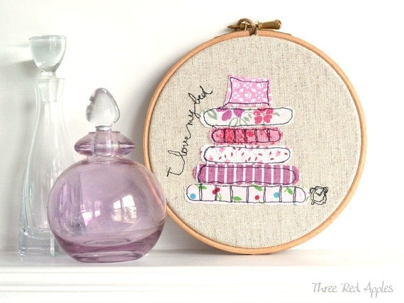 "I love my bed - Personalised Embroidery Hoop Art -Textile Artwork in pink - 6"" hoop"