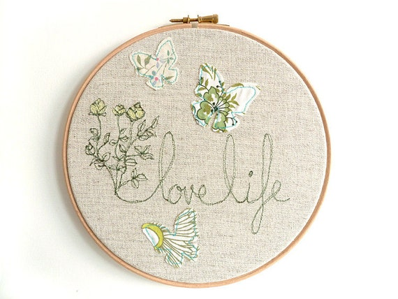 "Love Life - Personalised Embroidered Hoop Art - Textile artwork in green - 8"" hoop"
