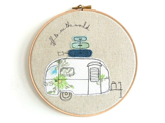 "Embroidered Hoop Art - Airstream Bambi Textile Artwork in blue and green - Medium 8"" hoop"