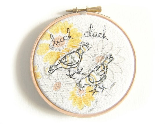 """Clucking chickens - Embroidery Hoop Art - Textile illustration in yellow - 4"""" hoop"""