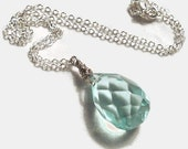 Large aqua briolette necklace