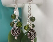 FREE SHIPPING Sterling Silver Jade and Green Crystal Dangle Earrings