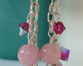 FREE SHIPPING Sterling Silver Pink Stone Dangle Earrings