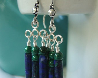 FREE SHIPPING Blue and Green Stone Earrings