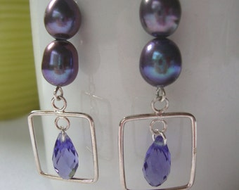 FREE SHIPPING Sterling Silver Blue Purple Pearl Dangle Earrings