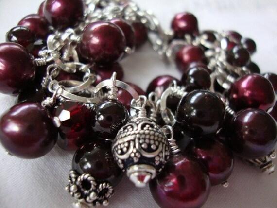 Sterling Silver Garnet and Pearl Bracelet