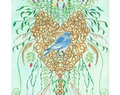 Bluebird in a Heart with flowers and leaves, archival print, 8.5 x 11, limited edition, Renaissance inspired