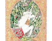 A Unicorn Escapes, with millefleur, archival print, 8.5 x 11, limited edition