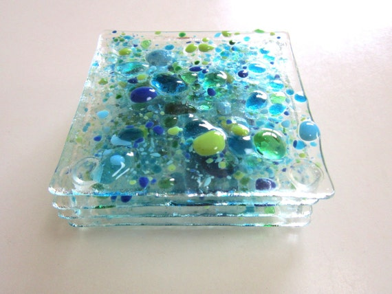 Coasters Deep Sea  Color On Clear Glass