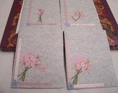Set Of 4 Light Blue Girly Blank Cards