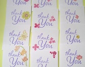 12 Sets of Mini Thank You Cards With Handmade Envelopes