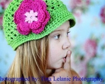 Beanie Girls Green Apple with pink and white flower,infant, baby, toddler, teen. Can be custom ordered in sizes and colors.