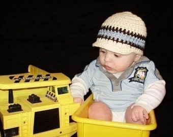Eggshell with small Chocolate stripes and double light blue stripe boy beanie size is 6 to12 months can be done in other sizes and colors