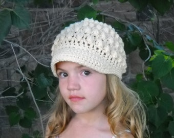 See shop for sales..Adorable Eggshell Popcorn Beanie ..5T-preteen..Can be made in toher sizes and colors.SEE COLOR CHART