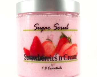 Strawberries n Cream Whipped Sugar Body Scrub 8 oz jar (Vegan Friendly and No Parabans)