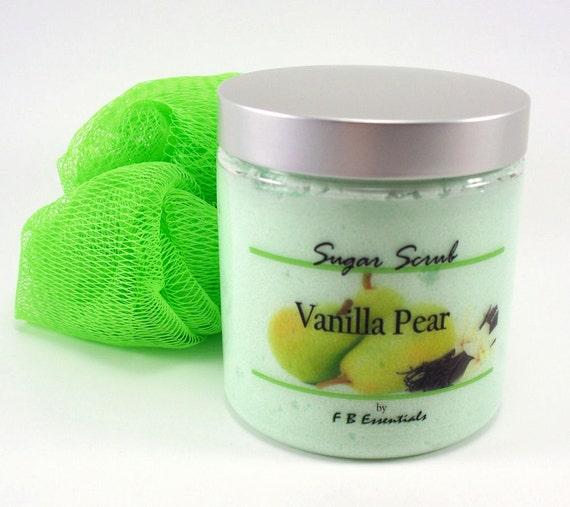 Sugar Scrub Exfoliating Body Polish Vanilla Pear 8 oz jar (Vegan Friendly and No Parabans)