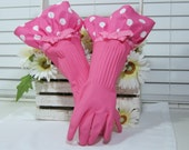 Pink Polka Dot Spring Cleaning Dish Washing Gloves