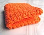 Wash Cloth - Crochet Cotton Face Cloth - Bright Orange