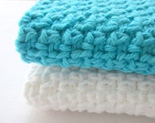 Cotton Wash Cloths,  Crochet Face Cloths, Washcloth set, Caribbean Blue & Oatmeal
